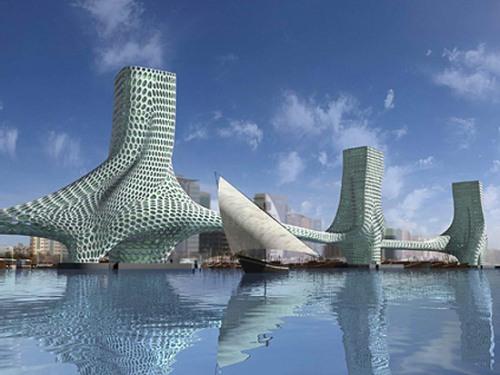 "Мост  ""Три Грации "" в Дубаи."