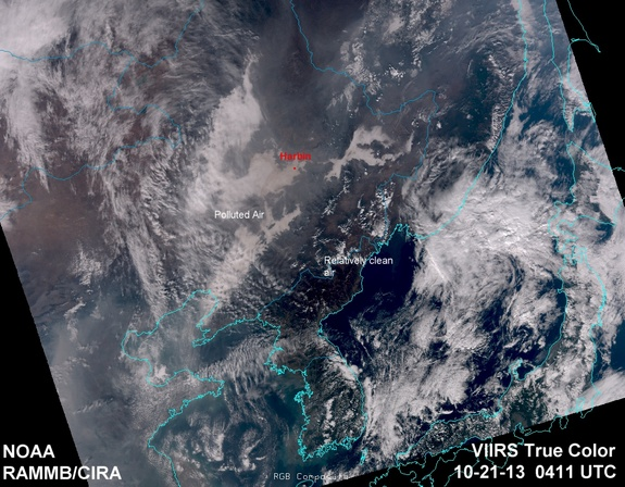 Толстый слой смога над Китаем был запечатлен из космоса