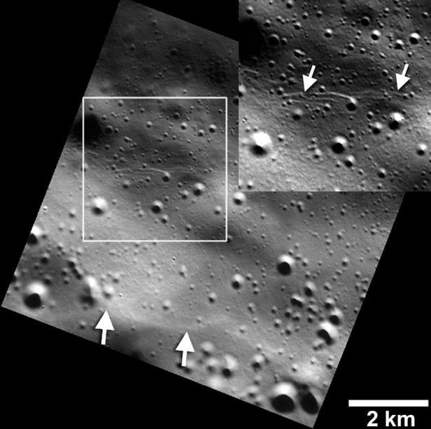 NASA опубликовали фотографии землетрясений Меркурия
