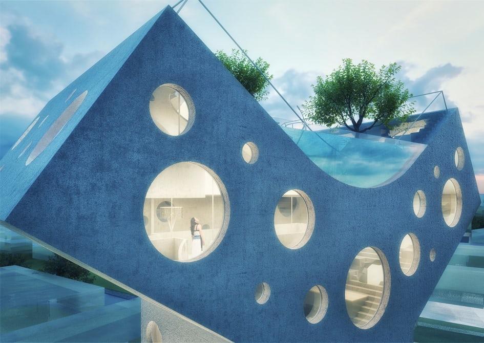 Голландский архитектор представил концептуальный автомобиль особого Y-образного дома